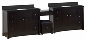 American Imaginations 116.45-in. W Floor Mount Distressed Antique Walnut Vanity Set For 3H4-in. Drilling Black Galaxy Top White UM Sink