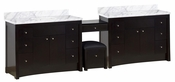 116.45-in. W Floor Mount Distressed Antique Walnut Vanity Set For 3H8-in. Drilling Bianca Carara Top White UM Sink