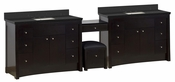 American Imaginations 116.45-in. W Floor Mount Distressed Antique Walnut Vanity Set For 3H8-in. Drilling Black Galaxy Top Biscuit UM Sink