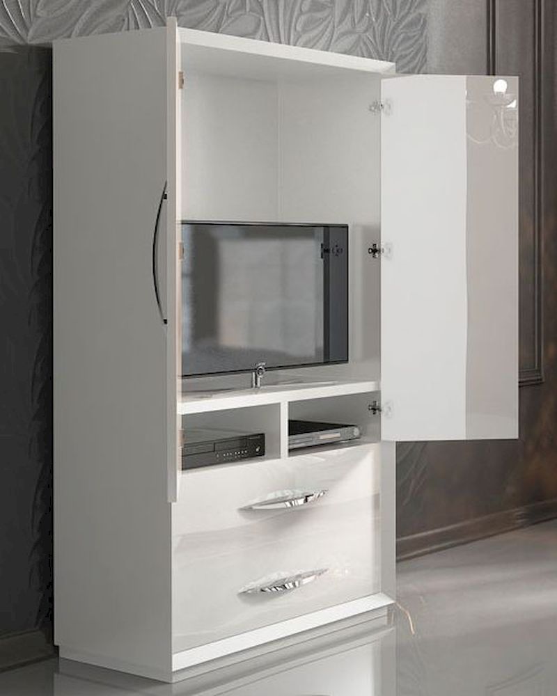 white 2 door armoire in modern style carmen 33162ca. Black Bedroom Furniture Sets. Home Design Ideas