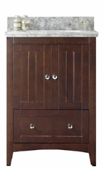 23.75-in. W Floor Mount Walnut Vanity Set For 1 Hole Drilling Bianca Carara Top Biscuit UM Sink