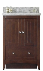 23.75-in. W Floor Mount Walnut Vanity Set For 1 Hole Drilling Bianca Carara Top White UM Sink