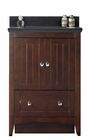 American Imaginations 23.75-in. W Floor Mount Walnut Vanity Set For 1 Hole Drilling Black Galaxy Top Biscuit UM Sink