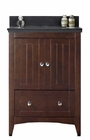 American Imaginations 23.75-in. W Floor Mount Walnut Vanity Set For 1 Hole Drilling Black Galaxy Top White UM Sink