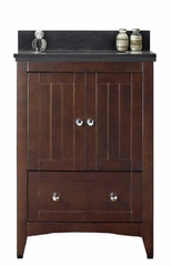 23.75-in. W Floor Mount Walnut Vanity Set For 1 Hole Drilling Black Galaxy Top White UM Sink