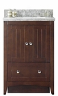 American Imaginations 23.75-in. W Floor Mount Walnut Vanity Set For 3H4-in. Drilling Bianca Carara Top Biscuit UM Sink