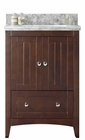American Imaginations 23.75-in. W Floor Mount Walnut Vanity Set For 3H4-in. Drilling Bianca Carara Top White UM Sink