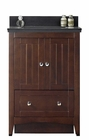 American Imaginations 23.75-in. W Floor Mount Walnut Vanity Set For 3H4-in. Drilling Black Galaxy Top Biscuit UM Sink