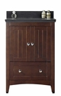 American Imaginations 23.75-in. W Floor Mount Walnut Vanity Set For 3H8-in. Drilling Black Galaxy Top White UM Sink