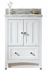 American Imaginations 23.75-in. W Floor Mount White Vanity Set For 1 Hole Drilling Bianca Carara Top Biscuit UM Sink