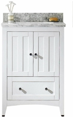 23.75-in. W Floor Mount White Vanity Set For 1 Hole Drilling Bianca Carara Top Biscuit UM Sink