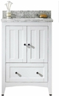 American Imaginations 23.75-in. W Floor Mount White Vanity Set For 1 Hole Drilling Bianca Carara Top White UM Sink