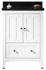 American Imaginations 23.75-in. W Floor Mount White Vanity Set For 1 Hole Drilling Black Galaxy Top Biscuit UM Sink