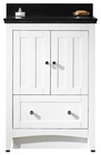 American Imaginations 23.75-in. W Floor Mount White Vanity Set For 1 Hole Drilling Black Galaxy Top White UM Sink