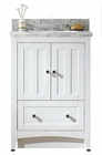 American Imaginations 23.75-in. W Floor Mount White Vanity Set For 3H4-in. Drilling Bianca Carara Top Biscuit UM Sink