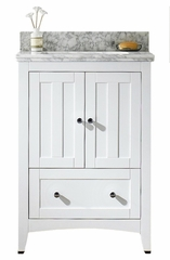 23.75-in. W Floor Mount White Vanity Set For 3H4-in. Drilling Bianca Carara Top White UM Sink