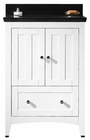 American Imaginations 23.75-in. W Floor Mount White Vanity Set For 3H4-in. Drilling Black Galaxy Top Biscuit UM Sink