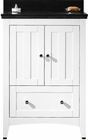 American Imaginations 23.75-in. W Floor Mount White Vanity Set For 3H4-in. Drilling Black Galaxy Top White UM Sink