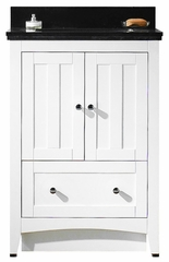23.75-in. W Floor Mount White Vanity Set For 3H4-in. Drilling Black Galaxy Top White UM Sink