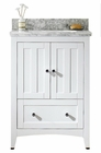 American Imaginations 23.75-in. W Floor Mount White Vanity Set For 3H8-in. Drilling Bianca Carara Top Biscuit UM Sink