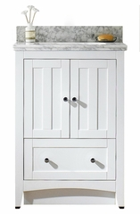 23.75-in. W Floor Mount White Vanity Set For 3H8-in. Drilling Bianca Carara Top White UM Sink