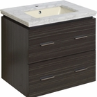 American Imaginations 23.75-in. W Wall Mount Dawn Grey Vanity Set For 1 Hole Drilling Bianca Carara Top Biscuit UM Sink