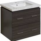 American Imaginations 23.75-in. W Wall Mount Dawn Grey Vanity Set For 1 Hole Drilling Bianca Carara Top White UM Sink
