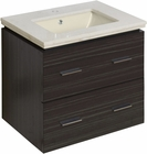 American Imaginations 23.75-in. W Wall Mount Dawn Grey Vanity Set For 1 Hole Drilling Biscuit UM Sink