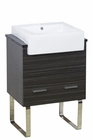 American Imaginations 24-in. W Floor Mount Dawn Grey Vanity Set For 1 Hole Drilling Black Galaxy Top