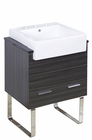 American Imaginations 24-in. W Floor Mount Dawn Grey Vanity Set For 3H8-in. Drilling Black Galaxy Top