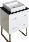 American Imaginations 24-in. W Floor Mount White Vanity Set For 1 Hole Drilling Black Galaxy Top