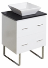 American Imaginations 24-in. W Floor Mount White Vanity Set For Wall Mount Drilling Black Galaxy Top