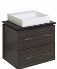 American Imaginations 24-in. W Wall Mount Dawn Grey Vanity Set For 1 Hole Drilling Black Galaxy Top