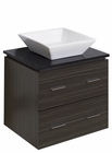American Imaginations 24-in. W Wall Mount Dawn Grey Vanity Set For Wall Mount Drilling Black Galaxy Top