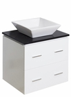 American Imaginations 24-in. W Wall Mount White Vanity Set For Wall Mount Drilling Black Galaxy Top