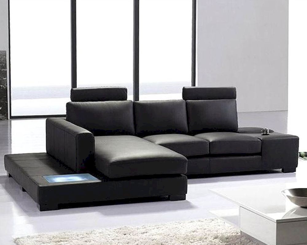 2pc black leather sectional sofa set 44lt35minibhl for Leather sofa set