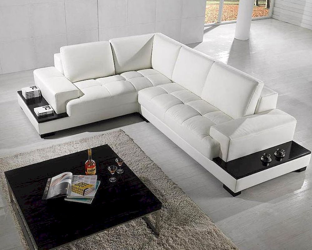 2pc Modern White Leather Sectional Sofa Set 44LT71 : modern white leather sectional sofa - Sectionals, Sofas & Couches