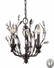 ELK 3 Light Chandelier in Deep Rust and Crystal Droplets With Adapter Kit EK-8058-3-LA