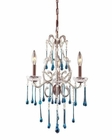 ELK 3 Light Chandelier in Rust and Aqua Crystal EK-4011-3AQ