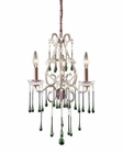 ELK 3 Light Chandelier in Rust and Lime Crystal EK-4011-3LM
