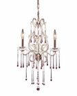 ELK 3 Light Chandelier in Rust and Rose Crystal EK-4011-3RS