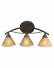 ELK 3 Light Vanity In Aged Bronze And Tea Swirl Glass EK-7642-3