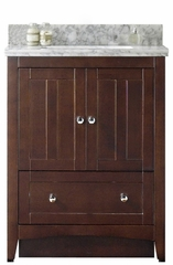 30.5-in. W Floor Mount Walnut Vanity Set For 1 Hole Drilling Bianca Carara Top Biscuit UM Sink