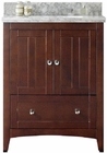 American Imaginations 30.5-in. W Floor Mount Walnut Vanity Set For 1 Hole Drilling Bianca Carara Top White UM Sink