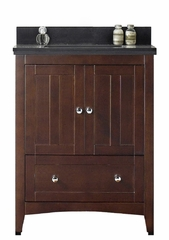 30.5-in. W Floor Mount Walnut Vanity Set For 1 Hole Drilling Black Galaxy Top Biscuit UM Sink