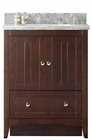 American Imaginations 30.5-in. W Floor Mount Walnut Vanity Set For 3H4-in. Drilling Bianca Carara Top Biscuit UM Sink