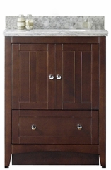 30.5-in. W Floor Mount Walnut Vanity Set For 3H4-in. Drilling Bianca Carara Top White UM Sink