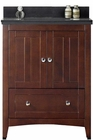 American Imaginations 30.5-in. W Floor Mount Walnut Vanity Set For 3H4-in. Drilling Black Galaxy Top White UM Sink