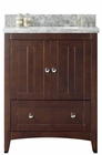 American Imaginations 30.5-in. W Floor Mount Walnut Vanity Set For 3H8-in. Drilling Bianca Carara Top Biscuit UM Sink