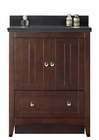 30.5-in. W Floor Mount Walnut Vanity Set For 3H8-in. Drilling Black Galaxy Top Biscuit UM Sink